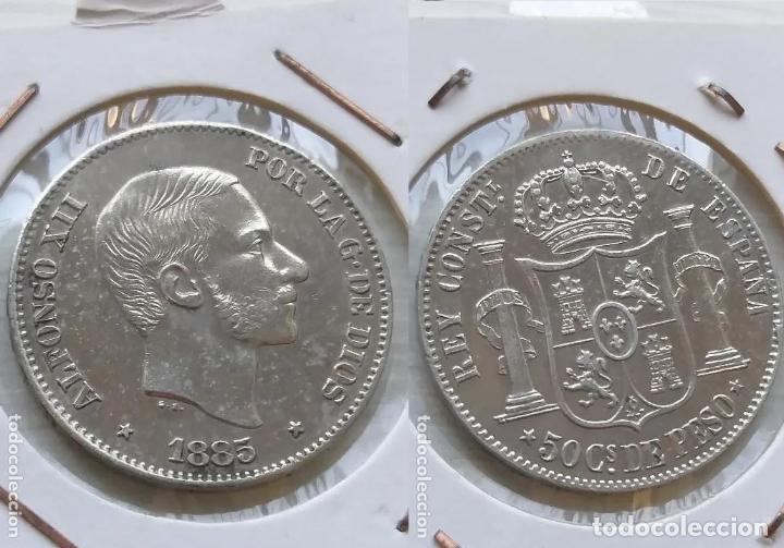 50 CENTAVOS DE PESO FILIPINAS ALFONSO XII 1885 PRECIOSA (Numismática - España Modernas y Contemporáneas - De Isabel II (1.834) a Alfonso XIII (1.931))
