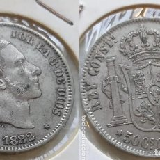 Monedas de España: 50 CENTAVOS DE PESO FILIPINAS ALFONSO XII 1882 PRECIOSA. Lote 182772430