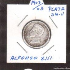 Monedas de España: MONEDA ORIGINAL PLATA 1 PTAS DE ALFONSO XIII 1903*03 LA QUE VES . Lote 182996983