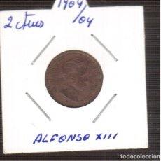 Monedas de España: MONEDA ORIGINAL COBRE 2 CTMOS DE 1904*04 SMV LA QUE VES . Lote 183002113