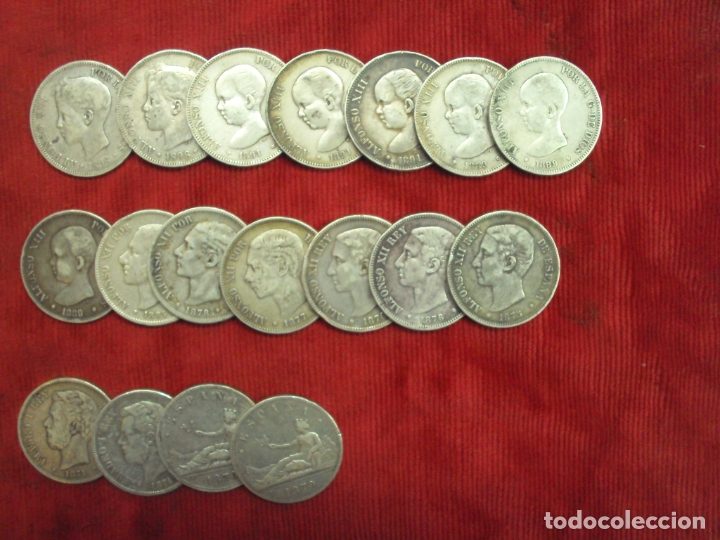 LOTE 18 MONEDAS PLATA 5 PESETAS ALFONSO XII XIII PROVISIONAL ETC... (Numismática - España Modernas y Contemporáneas - De Isabel II (1.834) a Alfonso XIII (1.931))