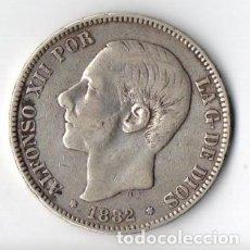 Monedas de España: DURO DE PLATA DE ALFONSO XII 1.882 M.S.M. ESTRELLAS 1881 MUY BIEN CONSERVADO. Lote 183337802