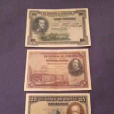 Monedas de España: ALFONSO XIII. BILLETES 25-50-100 PTAS 1928 (MBC++). Lote 183338896