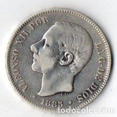 Monedas de España: DURO DE PLATA DE ALFONSO XII 1.885 M.P.M. ESTRELLAS VISIBLES 1887 MUY BIEN CONSERVADO. Lote 183339812