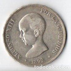 Monedas de España: DURO DE PLATA DE ALFONSO XIII 1.892 PELÓN P.G.M. ESTRELLAS ++92 MUY BIEN CONSERVADO. Lote 183342208