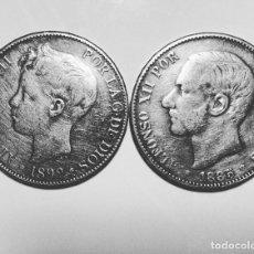 Monedas de España: MONEDAS ALFONSO XII Y ALFONSO XIII 5 PESETAS 1855 Y 1899. Lote 183496976