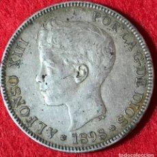 Monedas de España: 5 PESETAS DE ALFONSO XIII - 1898 *18 *98 - PARTE DE LA PATINA ORIGINAL - MBC - 24.66G AG . Lote 183525873