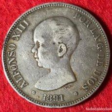 Monedas de España: 5 PESETAS DE ALFONSO XIII - 1891 *18 *91 - PARTE DE LA PATINA ORIGINAL - MBC - 24.79G AG 0.900. Lote 183526623