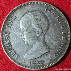 Monedas de España: 5 PESETAS DE ALFONSO XIII - 1889 *18 *89 - PARTE DE LA PATINA ORIGINAL - MBC - 24.87G AG 0.999. Lote 183527423