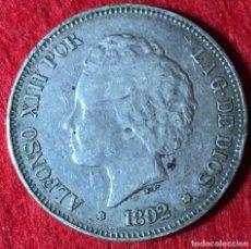 Monedas de España: 5 PESETAS DE ALFONSO XIII - 1892 *18 *92 - PARTE DE LA PATINA ORIGINAL - MBC - 24.70G AG 0.900. Lote 183527627