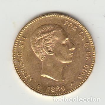 MONEDA 25 PESETAS - ALFONSO XII - 1880 - ORO (ORIGINAL) (Numismática - España Modernas y Contemporáneas - De Isabel II (1.834) a Alfonso XIII (1.931))