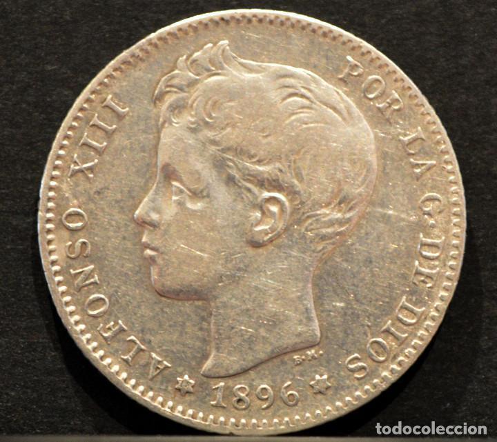 Monedas de España: 1 PESETA 1896 *18 *96 PGV ALFONSO XIII PLATA ESPAÑA - Foto 2 - 52071807