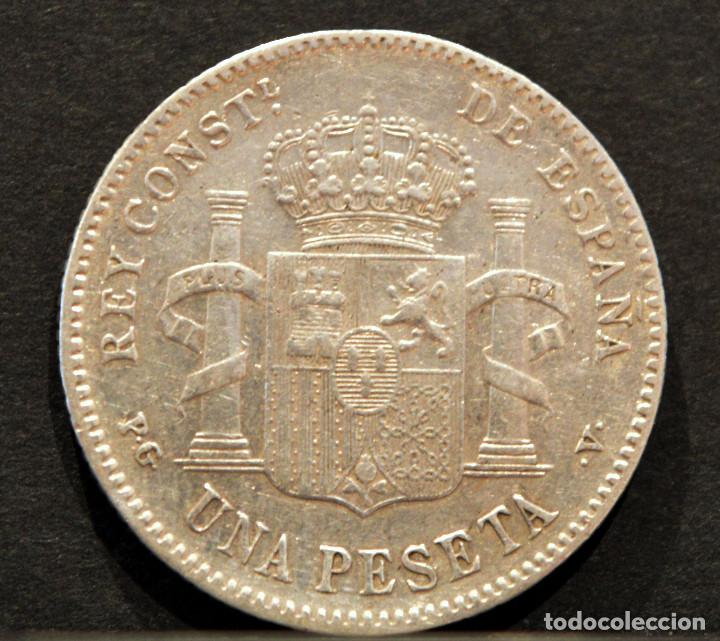 Monedas de España: 1 PESETA 1896 *18 *96 PGV ALFONSO XIII PLATA ESPAÑA - Foto 3 - 52071807