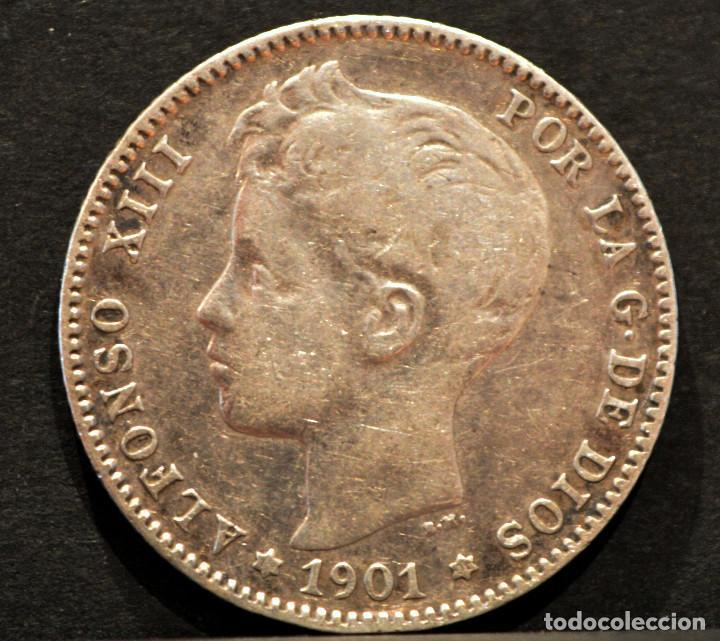 Monedas de España: 1 PESETA 1901 *19 *01 SMV PLATA ESPAÑA - Foto 2 - 52077385