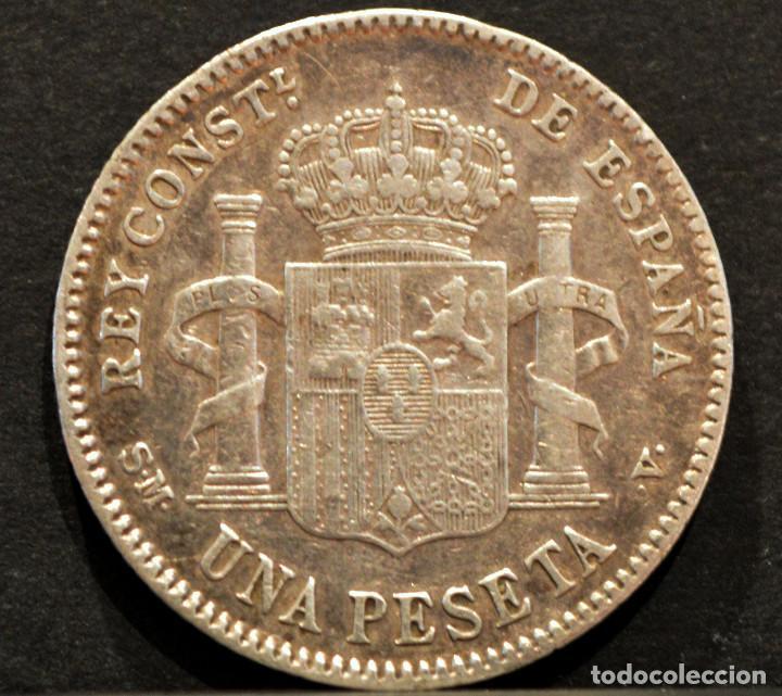 Monedas de España: 1 PESETA 1901 *19 *01 SMV PLATA ESPAÑA - Foto 3 - 52077385