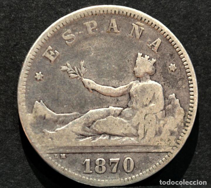 Monedas de España: 2 PESETAS 1870 *18 *73 GOBIERNO PROVISIONAL PLATA ESPAÑA - Foto 2 - 150089858
