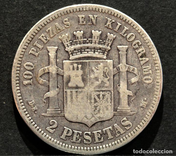 Monedas de España: 2 PESETAS 1870 *18 *73 GOBIERNO PROVISIONAL PLATA ESPAÑA - Foto 3 - 150089858