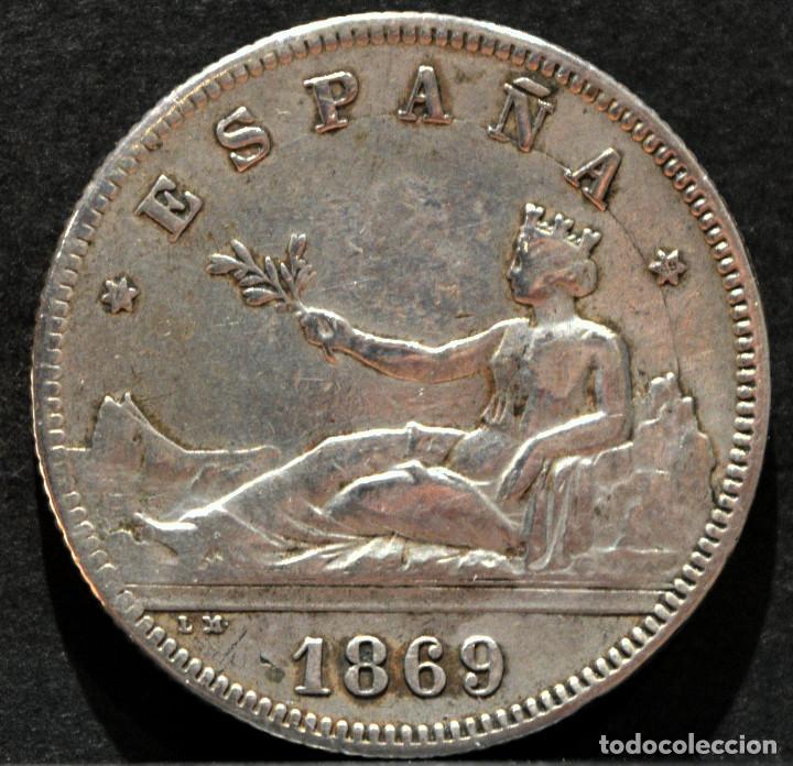 Monedas de España: 2 PESETAS 1869 *18* 69 GOBIERNO PROVISIONAL PLATA ESPAÑA - Foto 2 - 52015048