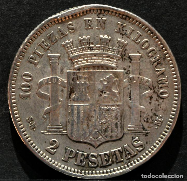 Monedas de España: 2 PESETAS 1869 *18* 69 GOBIERNO PROVISIONAL PLATA ESPAÑA - Foto 3 - 52015048