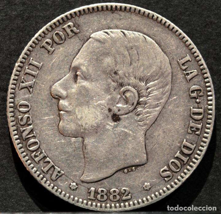Monedas de España: 2 PESETAS 1882 *18 *82 ALFONSO XII PLATA ESPAÑA - Foto 2 - 52014257