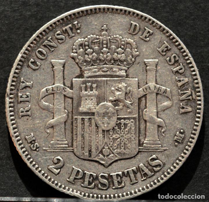 Monedas de España: 2 PESETAS 1882 *18 *82 ALFONSO XII PLATA ESPAÑA - Foto 3 - 52014257