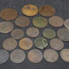 Monedas de España: GOBIERNO PROVISIONAL LOTE 21 MONEDAS COBRE. Lote 184872815
