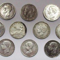 Monedas de España: 10 MONEDAS DE 5 PESETAS DE PLATA GOBIERNO PROVISIONAL, AMADEO I, ALFONSO XII, ALFONSO XIII LOTE 2178. Lote 185685511