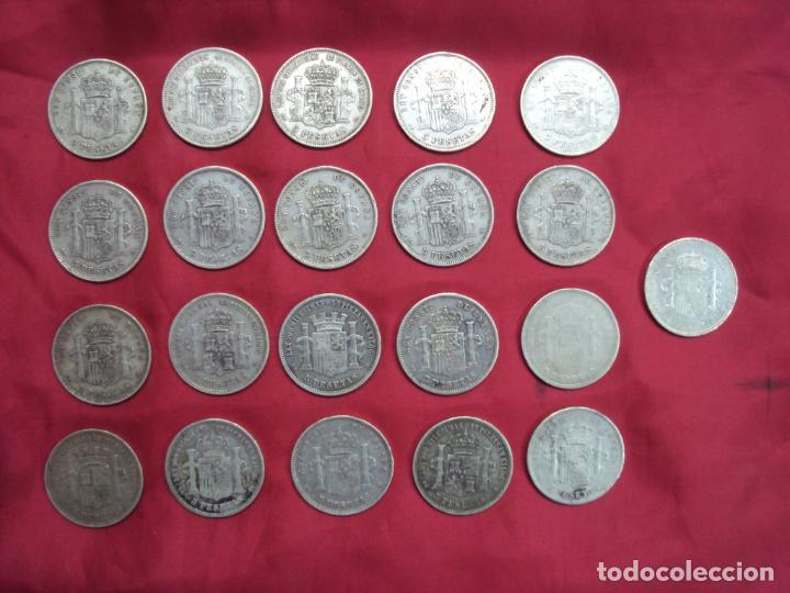 Monedas de España: LOTE 21 MONEDAS PLATA 5 PESETAS ALFONSO XII XIII PROVISIONAL ETC... - Foto 2 - 185720321