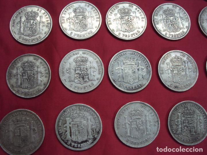 Monedas de España: LOTE 21 MONEDAS PLATA 5 PESETAS ALFONSO XII XIII PROVISIONAL ETC... - Foto 3 - 185720321
