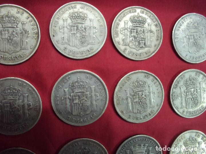 Monedas de España: LOTE 21 MONEDAS PLATA 5 PESETAS ALFONSO XII XIII PROVISIONAL ETC... - Foto 4 - 185720321