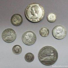 Monedas de España: 10 MONEDAS DE PLATA ESPAÑOLAS ANTIGUAS: GOBIERNO PROVISIONAL, ALFONSO XII, ALFONSO XIII LOTE 2180. Lote 185727483