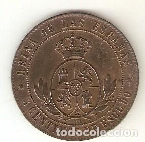MONED3-137. 5 CÉNTIMOS DE ESCUDO. BARCELONA 1867 V.S. 198 (Numismática - España Modernas y Contemporáneas - De Isabel II (1.834) a Alfonso XIII (1.931))