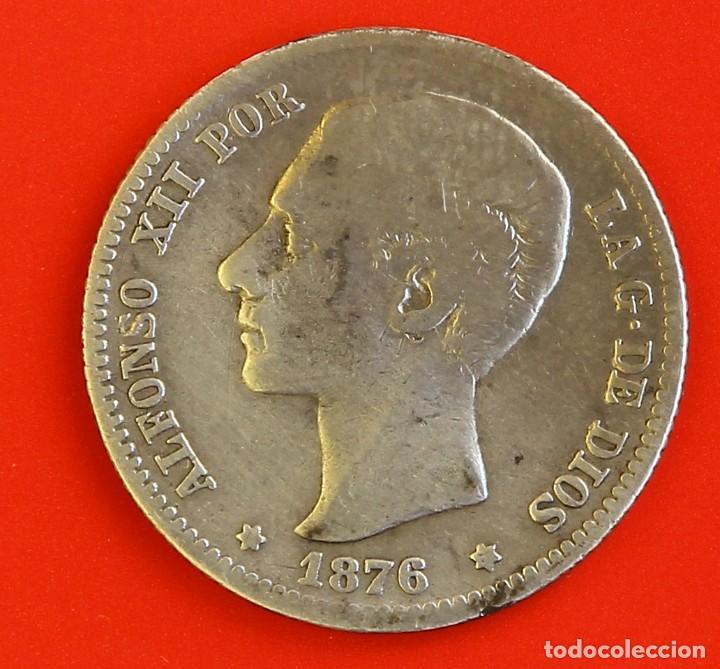 1 PESETA 1876 DEM ESTRELLAS (1-)(7-) BC (Numismática - España Modernas y Contemporáneas - De Isabel II (1.834) a Alfonso XIII (1.931))