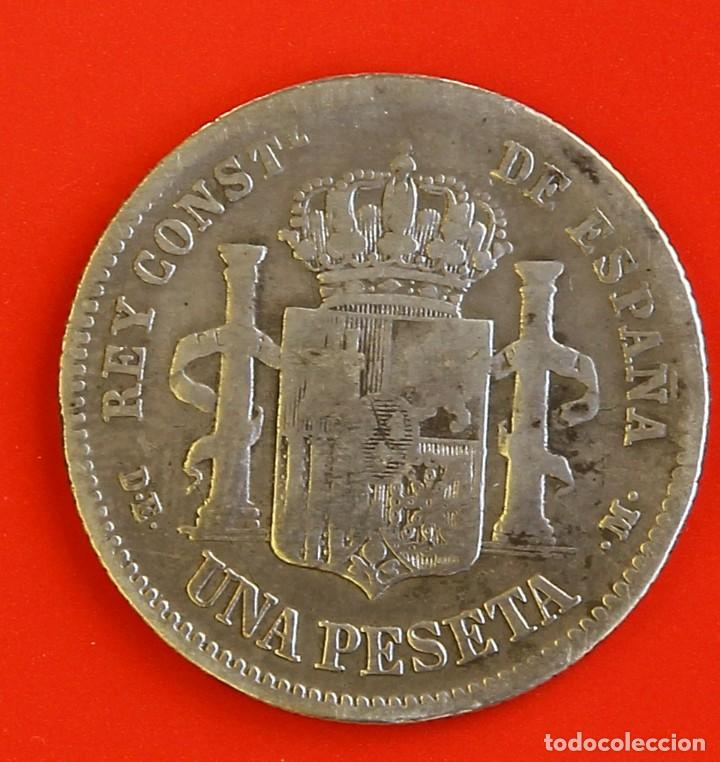 Monedas de España: 1 PESETA 1876 DEM Estrellas (1-)(7-) BC - Foto 2 - 186063516