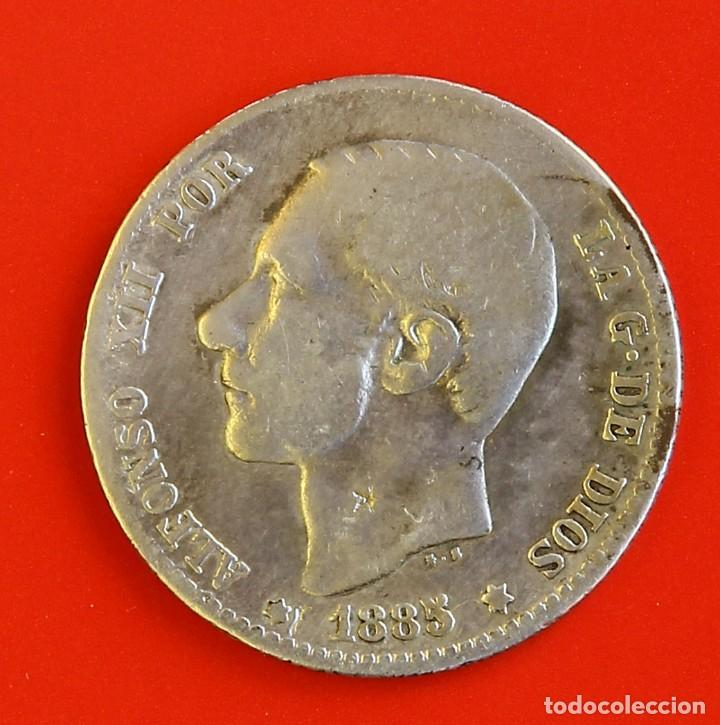 1 PESETA 1885 MSM ESTRELLAS (--)(--) MBC (Numismática - España Modernas y Contemporáneas - De Isabel II (1.834) a Alfonso XIII (1.931))