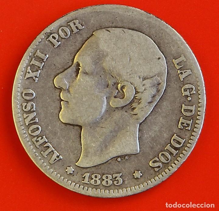 2 PESETAS 1883 MSM ESTRELLAS (--)(--) BC+ (Numismática - España Modernas y Contemporáneas - De Isabel II (1.834) a Alfonso XIII (1.931))