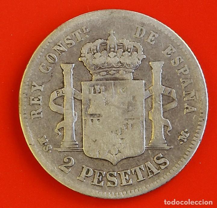 Monedas de España: 2 PESETAS 1883 MSM Estrellas (--)(--) BC+ - Foto 2 - 186065541