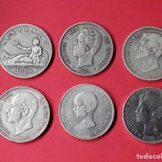 Monedas de España: COLECCIÓN MONEDAS 5 PESETAS 1870- 1898. 6 DUROS DE PLATA. Lote 186113542