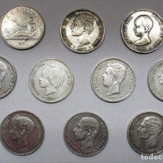 Monedas de España: 10 MONEDAS DE 5 PESETAS DE PLATA GOBIERNO PROVISIONAL, AMADEO I, ALFONSO XII, ALFONSO XIII LOTE 2195. Lote 187193517