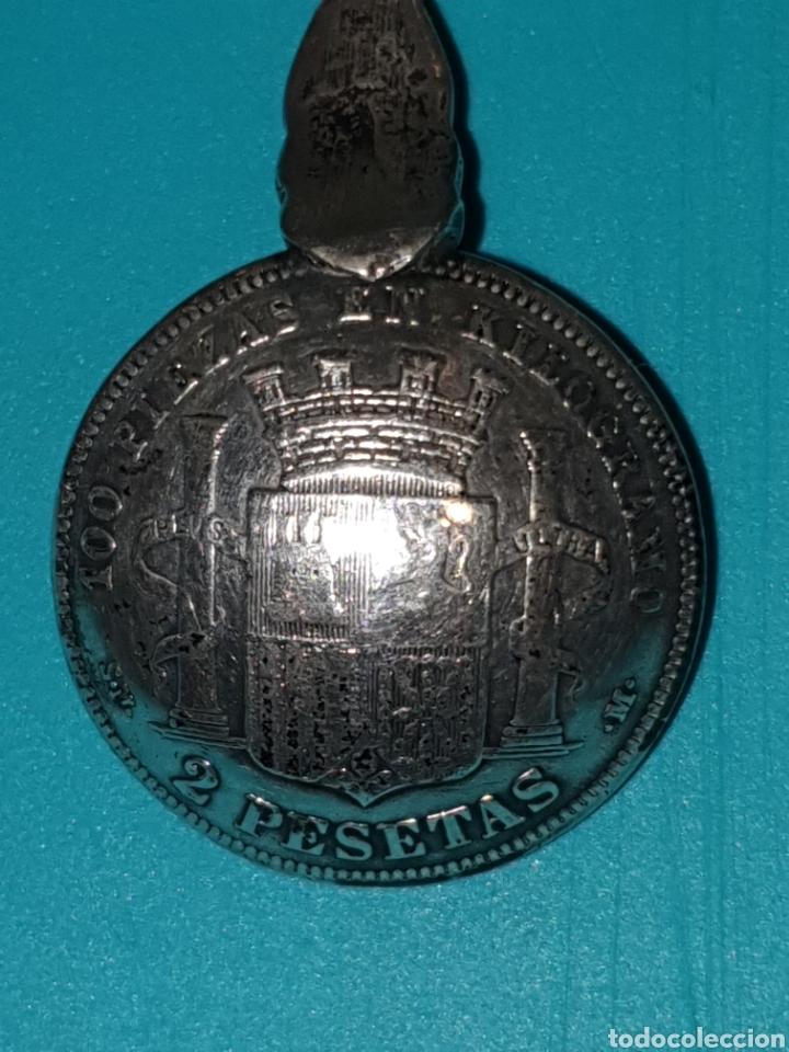 Monedas de España: CUCHARA PLATA CON MONEDA 2 PTS 1869 ESTRELLA 68? - Foto 5 - 187375497