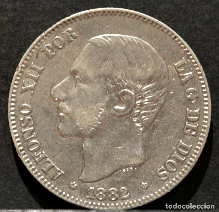 Monedas de España: 2 PESETAS 1882 ESPAÑA *18 *82 PLATA ALFONSO XII - Foto 2 - 51807566