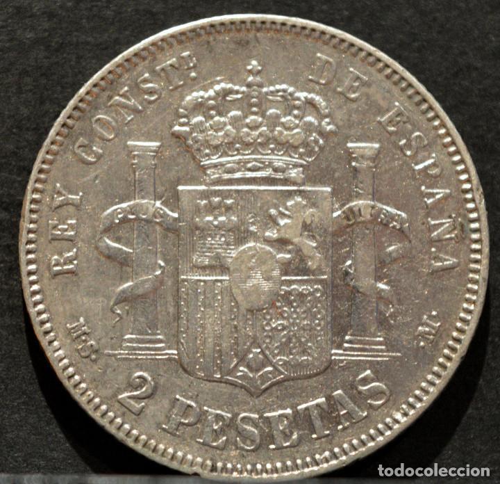 Monedas de España: 2 PESETAS 1882 ESPAÑA *18 *82 PLATA ALFONSO XII - Foto 3 - 51807566