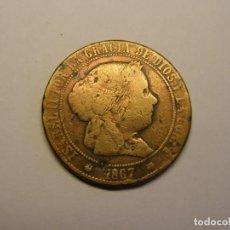 Monedas de España: MONEDA DE 5 CÉNTIMOS DE ESCUDO, ISABEL II, BARCELONA, AÑO 1867.. Lote 187492560