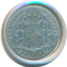 Monete da Spagna: ESPAÑA - ALFONSO XIII 1 PESETA 1899 SG V *18 * (BC+) KM # 706 PLATA NO SE VE LA SEGUNDA ESTRELLA. Lote 190760931