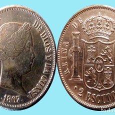 Monedas de España: 2 ESCUDOS PLATA DE ISABEL II DE 1867. CECA DE MADRID. SIN CIRCULAR MENOS. SC- CATº.400 €. Lote 191001396