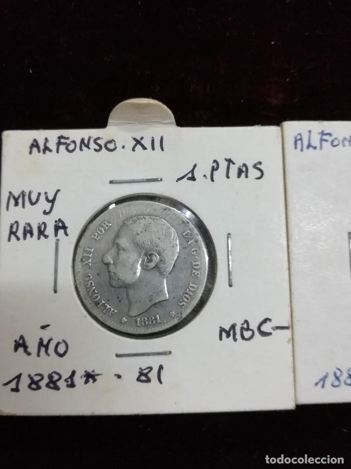 LOTE DE CONJUNTO DE 2 MONEDAS DE UNA PESETA DE ALFONSO XII (Numismática - España Modernas y Contemporáneas - De Isabel II (1.834) a Alfonso XIII (1.931))