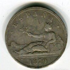 Monnaies d'Espagne: CINCO (5) PESETAS DURO DE PLATA GOBIERNO PROVISIONAL 1870 *18 *70. Lote 52146515