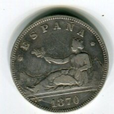 Monedas de España: DOS (2) PESETAS GOBIERNO PROVISIONAL 1870 *18 *74 (BUEN EJEMPLAR). Lote 52007168