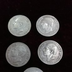 Monedas de España: LOTE DE CONJUNTO DE 5 MONEDAS DE 2 MESETAS DE ALFONSO XII. COLECCION COMPLETA.. Lote 191509500