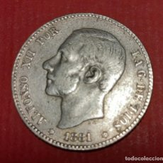 Monedas de España: MONEDA PLATA ALFONSO XII 1 PESETA 1881 RARA ESTRELLAS VISIBLES 81 MBC ORIGINAL , B23. Lote 191512887